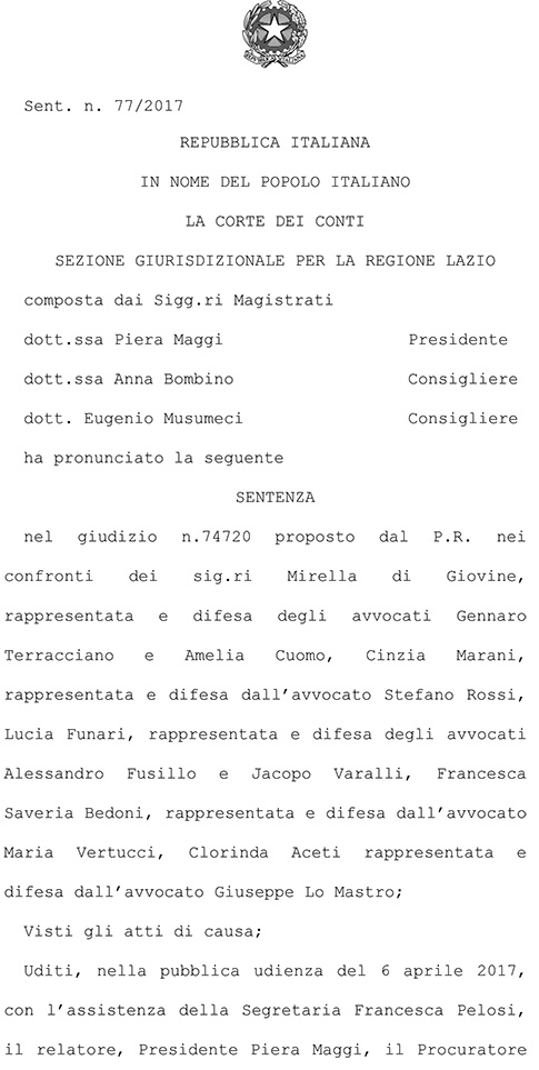 Corte dei Conti Sezione Giurisdizionale per la Regione Lazio, sentenza n.77/2017